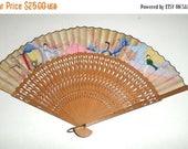 Blow Out Sale Vintage Hand Fan - Japanese Fan - Wood and Paper Fan - Old Hand Fan - Decorative Fan - Folding Fan - Paper Fan - Hand Held Per