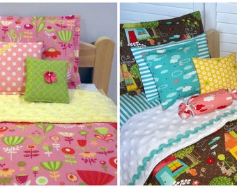 Custom 18 inch doll bedding set, reversible comforter pillows, pick your fabrics girl boy gender neutral unisexe 14 15 16 17 in waldorf doll