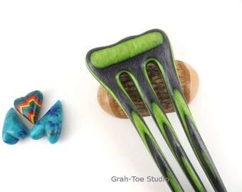 Spectraply Wood Hair Fork, Green Hornet Spectraply, Mini Threnody ,Wooden Hairfork,Hair Forks, Hairforks,Hair Stick, Man bun,Hairsticks wood