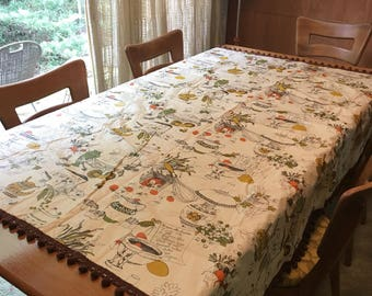 Vintage 60s Vinyl Table Cloth with Pom Pom Trim and Americana Kitchen Scene Recipes