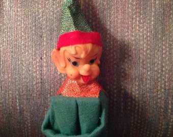 Vintage--Knee Hugger-- ELF--In Green--Pixie--Christmas Elf--Ornament