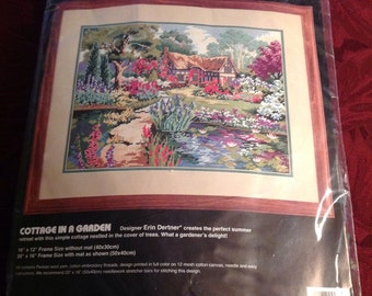 Vintage--1994--Dimensions--Needlepoint Kit--Cottage In A Garden--2419--Sealed--Unused
