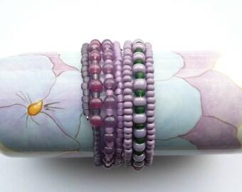 HEATHER Beaded Coil Bracelets, Memory wire Bangles, Purple and Green Bracelets, Modern Cuff, Boho Chic Jewelry, Small Giftable, Bracelet set
