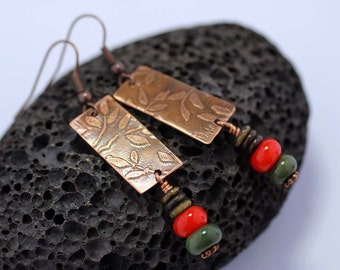 Copper Green and Orange Dangle Earrings SRAJD