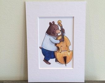 Wall art. 3x5 matted print. Bear playing upright bass. Watercolor illustration.