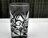 Toothpick Holder, Shot GlassHand Painted Glass, Glass Toothpick Holder, Table Decoration, Hand Painted Black Vine and Leaves