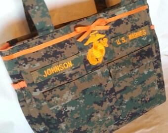 Woodland or desert Marine military diaper bag with EGA embroidery your choice color(s) Daddy diaper bag diaper bag custom