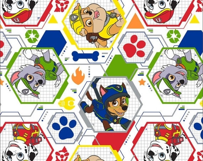 Paw Patrol Fabric, White/Multi Mission Pawsible Children's Paw Patrol Cotton Fabric