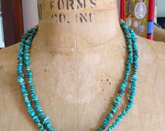 Vintage Navajo 925 Chain Cone Double Strand Turquoise  Necklace- True craftsmanship and so unique