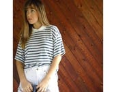 25% off Flash Sale . . . Blue Striped Jersey Knit Polo Tee Shirt - Vintage 80s - M