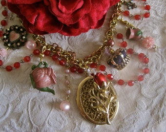 Happy Ending: Beauty and the Beast Necklace Choker Bridal Vintage Assemblage Red Rose Teapot Cup 3D Velvet Crown Heart Pink Gold Locket