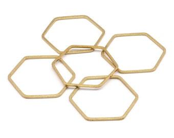 Brass Hexagon Charm, 24 Raw Brass Hexagon Rings (25x1mm) Bs 1227