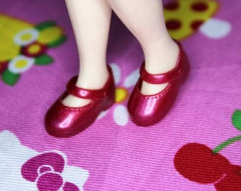 Blythe Red Shimmer Cute Mary Jane Doll shoes