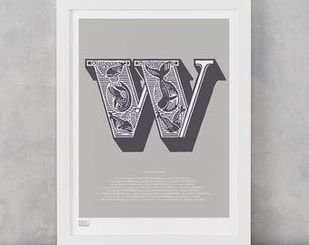 Illustrated Letter W, Letter W, Illustrated Letters, Illustrated Alphabet Wall Posters, W, Illustrated Art Prints, Illustrated Whales, Whale