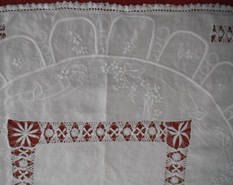 Vintage Antique White on White Hand Embroidered Drawn Work LinenTablecloth Tea Cloth