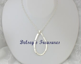 Trendy Hammered Sterling Silver Pendant Chain Necklace/Gift/Mother/Daughter/Friend/Shower Gift