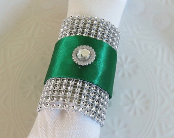 Napkin Ring - Rhinestone mesh with Green Satin Ribbon - New Years - Christmas - Weddings - table decor