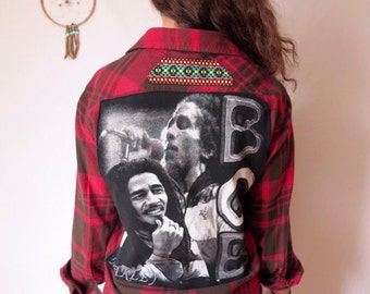 Bob Marley Rasta Plaid Flannel Red Black Eco Friendly Button Up Top Shirt OOAK Festival Upcycled Blouse Womens Size Medium/Large