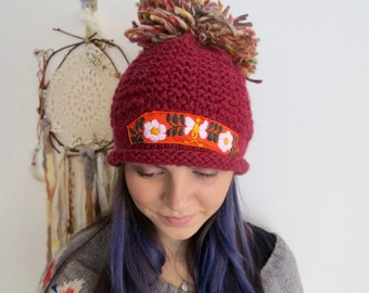 Red Orange Big Pom Pom Floral Meixcan Embroidered Applique Wool Knit  Hat Beanie Boho Hippie OOAK Embroidery Handknit MountainGirlClothing
