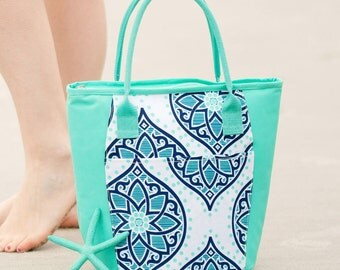 Spring break 2017 blue cooler bag beach bag lunch tote Valentines gift her boho blue monogram personalized BeachHouseDreamsHome Outer Banks
