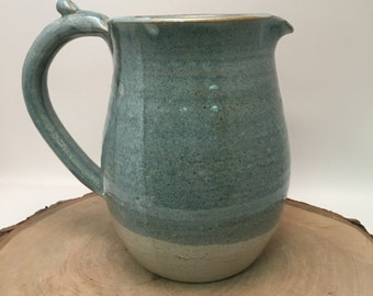 Handmade Ceramic Creamer / Pitcher - Antique Blue and Ivory
