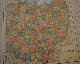 1904 State Map Ohio - Vintage Antique Map Great for Framing 100 Years Old