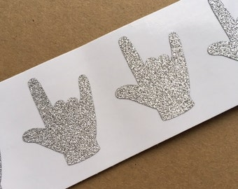 20 Silver Glitter ASL ILY Stickers for American Sign Language I Love You