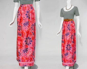 70s neon pink, orange, and purple floral maxi skirt | size medium