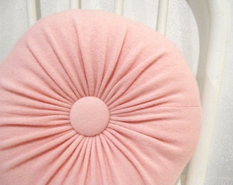 Pink Round Cashmere Throw Pillows Accent Decorative Pillow Pink Sofa Cushion Housewarming Gift Bedroom Pillow Felted Cashmere Wool 102
