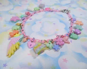 Fairy Kei necklace - 90's super chunky plastic and polymer clay charms