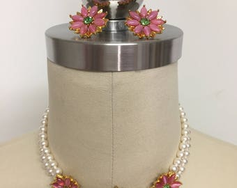 Vintage Flower Choker Faux Pearl Necklace and Earring Set.