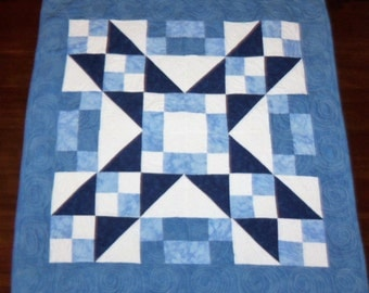 Quilted Table Runner, Blue Wall Hanging, Square Table Topper, 29x29 inches, Jacobs Ladder, Machine Quilted