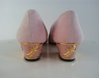 SaLE Now! Vintage Powder Pink Leather Cupid Valentines Day Shoes Pumps size 7
