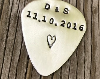 Boyfriend Gift hand stamped custom guitar pick sterling silver personalized guitar plectrum anniversary gift for men gift guitarist gift