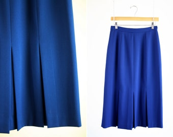 Christian Dior Paris New York The Suit Made in the USA Cobalt Blue Pleated Vintage Woman's Retro Midi Skirt