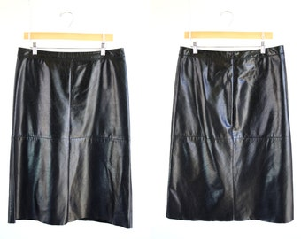 Gap Brand 90's Vintage Woman's Retro Long Black Leather Skirt