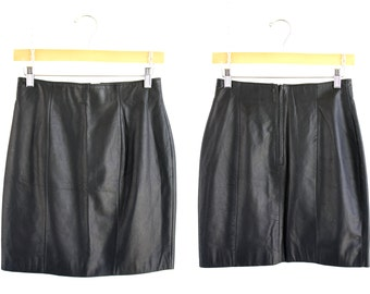 CHIA Brand Woman's Vintage Black Leather Mini Skirt