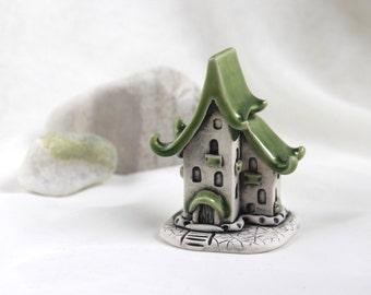 Green Romantic house of tiny fairies -- Hand Made Ceramic Eco-Friendly Home Decor by studio Vishnya