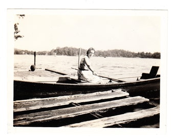 vintage Snapshot Photo Ready to Row Woman in Row Boat at Dock 1940s found Photo