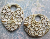 White Floral Collage, Handcrafted Beads, Ceramic Beads, Pendant, Pendants, Art Bead,