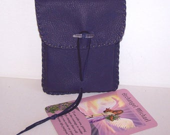 RESERVED for Juliette Lalonde...3 Leather Vertical Flap Tarot Bags..2 Medium Purple/White..1 Mini Turquoise.. Smooth