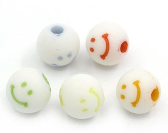 Smile Face Bead Mix - 8mm - 100 pieces - #ACR299