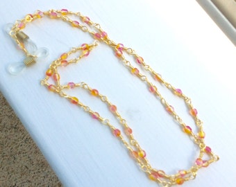 Sunset - Orange, Red and Pink Multicolor Czech Crystal Wire Wrapped Eyeglass Chain - Lanyard - Leash