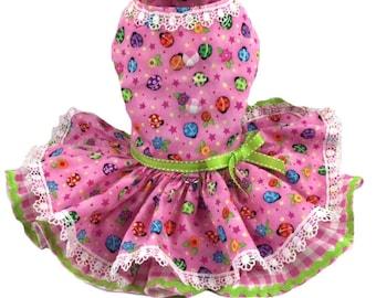 Dog Dress, Dog Harness Dress, Ladybug Dog Dress, Red and Yellow Dress for small dog, Dog fashion for Small Dogs, Ready To Ship