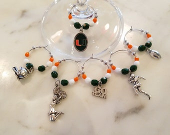 University of Miami Hurricanes  Wine Charms W Pouch