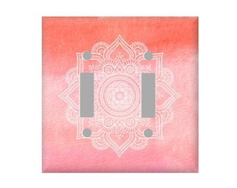 Mandala Switchplate Cover - Zen Room Decor switchplate - Double Light switch - Bohemian Bedroom Decor - Rocker cover - Electrical Cover