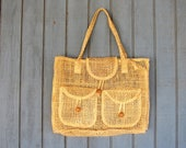 Natural Woven Market Bag Wicker Straw Bag Small Minimal Twine Tote Bag Bohemian Natural Purse Earthy Hippie Boho Top Handle Bag