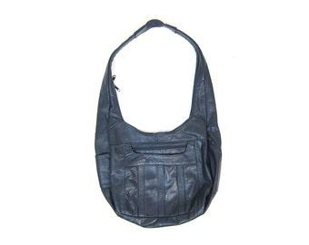 80s Blue Leather Purse Vintage Slouch Shoulder Bag Crossbody Bag Purse Cross Body Boho Hipster Slouchy Bag Tote POCKETS Thick Strap Bag