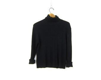 Black 90s Vertical Rib Top Thin Sweater Long Sleeve Ribbed Shirt Basic Modern Minimal Top Turtleeck Rib Top Womens Large
