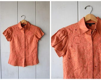 Summer Embroidered Linen Blouse Lafayette 148 Modern Button Up Floral Cutwork Blouse Womens Guayabera Shirt Vintage 90s Size XS Small